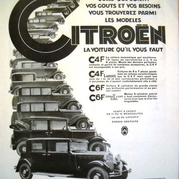 CITROEN automobiles, original advert, vintage poster from French magazine 1931