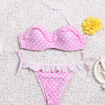 Pink Polka Dot Macrame with Steel Ring  Top String Bottom Self-tie Bikini