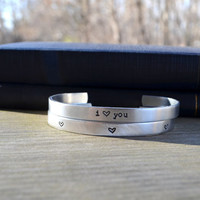 I Heart You Cuff Bracelet Set (2) - Love - Romantic - Valentine's Day - Hearts - Looks Like Silver - Rustic - Metal - For Her - Under 25