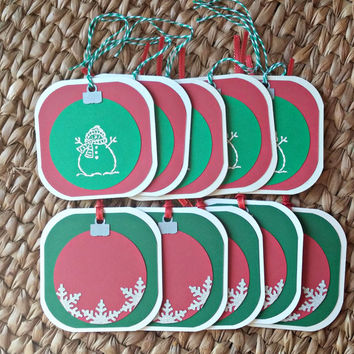 Pack of Gift Tags - Christmas Ornaments - Bag Tags - Holiday Name Tags - Gift Labels - Gift Bag Card - Set of Ten