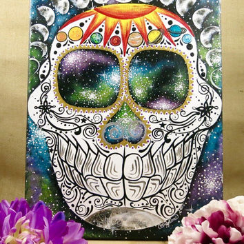 Hand Painted 11x16 Galaxy Sugar Skull Canvas Painting
