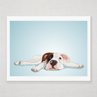 Boxer Puppy - Dog Portrait - Blue Illustrated Print - 8 X 10 Archival Matte | Luulla