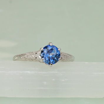Ceylon Blue Sapphire Vintage Style Diamond Accented Gemstone Engagement Ring Weddings Anniversary