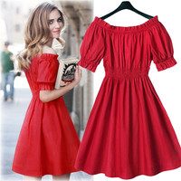Off Shoulder Short Sleeve A-line Short Dress