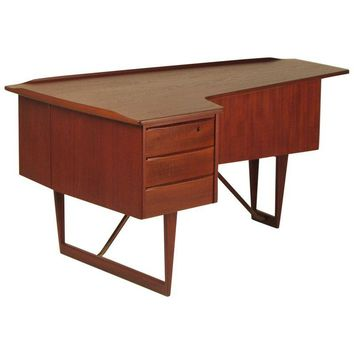 Pre-owned Peter Lovig Nielsen Teak & Brass Executive Desk