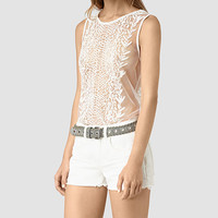ALLSAINTS UK: Womens Cariad Embroidered Top (Chalk White)