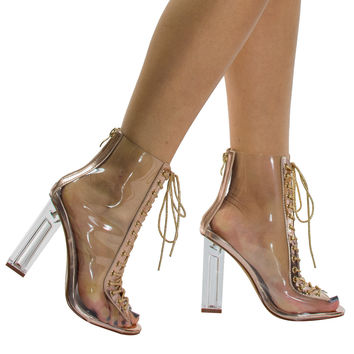 Posh1 Champagne clear translucent transparent lace up peep toe ankle bootie w Perspex block heel
