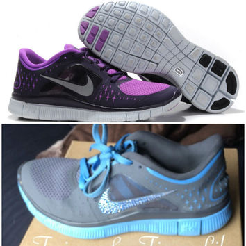 Nike Free Run in Laser Purple With Swarovski Crystal Embellished Nike Swoosh Logo - Free Run Nikes with Crystals