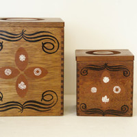 Kitchen Canisters  Walnut Wood Four Seasons