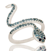 925 Sterling Silver Blue Sapphire And London Blue Topaz Snake Statement Ring