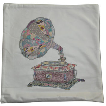 gramophone print steampunk Decorative Pillow Cushion Cover