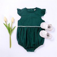 Baby Girls  Butterfly Sleeve Green Romper