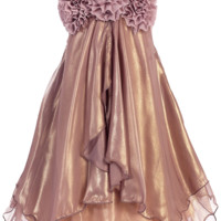 Shimmering Mauve Chiffon Occasion Dress with 2 Tier Layers & Chiffon Flowers (Girls Sizes 2T - 14)