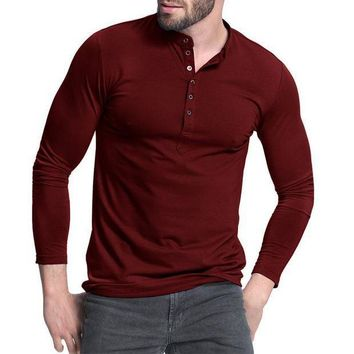 ICIKON3 Men's Henley Shirt 2018 Popular Design Tee Tops Long Sleeve Stylish Slim Fit Plain T-shirt Button Placket Casual Men T-shirts