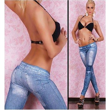 New 2017 Jeans Look Pants Fashion Leggings For Women.Tights Jeggings