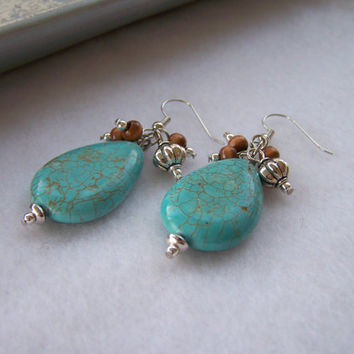 Turquoise Magnesite Teardrop Earrings with Beaded Dangles in Wood and Silver - Handmade Jewelry - Ready to Ship