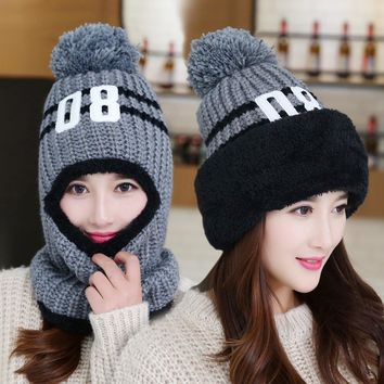 new brim  blanket warm knit hat ride windshield ear winter caps women girls wool ball collar beanie one pc set plush strip cap