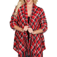 Plaid Cardigan - Red