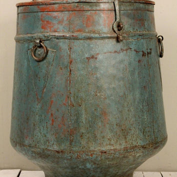 Vintage Industrial Turquoise Blue and Red Indian Farm Chic Iron Storage Tank Side Table