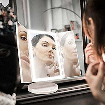 Backlit Makeup Vanity Mirror with 36 LED Lights, Touch-Screen Light Control, Tri-Fold 1x 2x 3x Magnification Sections, Portable High-Definition Clarity Cosmetic Light Up Magnifying Mirror