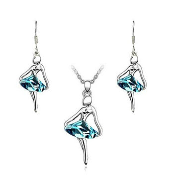 Beautiful Ballerina Dancer Necklace and Earrings Set Teal Blue Crystal White Gold Plated Gift Boxed