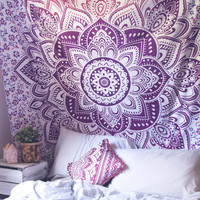 Purple Lotus Medallion Tapestry