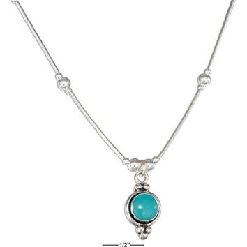 "Sterling Silver Necklaces: 16"" Round Simulated Turquoise Concho Liquid Silver Necklace"