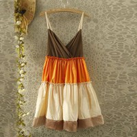 Fashionable Spaghetti Strap Colormatching Open Back Mercerized Cotton Dress For Women