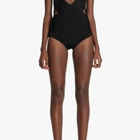 No Less Than Flawless Black Sleeveless V Neck Cut Out Bandage Bodysuit Top -  Inspired by Balmain