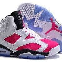 Hot Nike Air Jordan 6 Retro Women Shoes White Pink Black