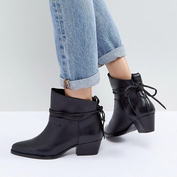 Hudson London Macha Black Leather Mid Heeled Ankle Boots at asos.com