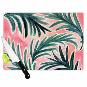 "Crystal Walen ""Lush Palm Leaves "" Green Pink Cutting Board"