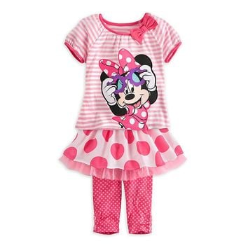 Licensed cool DISNEY STORE MINNIE MOUSE DRESS SKIRT LEGGINGS POLKA DOT STRIPES  SHIPPING
