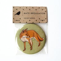 woodland fox pocket mirror