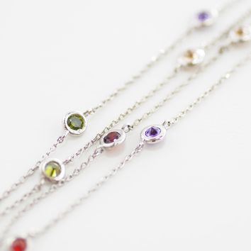 """By The Yard 24"""" Necklace in Silver with Multicolor Stones"""