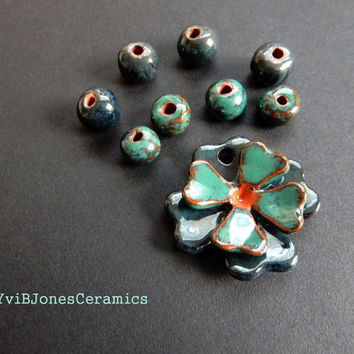 Ceramic Flower Pendant with 8 matching beads Set, Pottery Jewelry Kit, DIY Necklace, 3D ceramic pendant