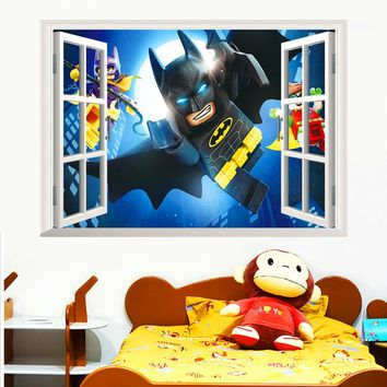 cartoon batman wall stickers for kids rooms home decor 3d effect window wall decals diy mural pvc posters Christmas boy's gift