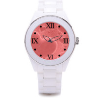 Women's Pink Heart White Ceramic Wrist Watch