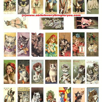 """vintage cat art download domino collage sheet 1"""" x 2"""" inch cat images kitten images clipart digital instant graphics printables for pendants"""