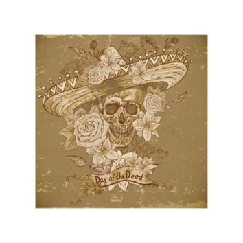 Vintage Flower Sugar Skull Wood Wall Art