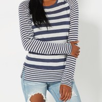 Navy Mixed Stripe Raglan Top | Long Sleeve | rue21
