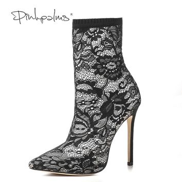 Pink Palms Women Winter Shoes High Heels Ankle Boots Black Flower Lace Mid-Calf Boots for Women Free Shipping Women Boots