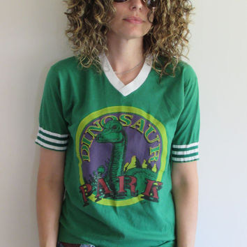 Super Cute Vintage Green Dinosaur Park Screen Print Shirt