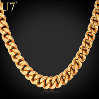 """U7 Gold Necklace With """"18K"""" Stamp Trendy 18K Gold Plated 7 MM 18/22/26 Inches Long Cuban Link Chain Necklace Men Jewelry N383"""