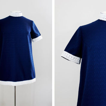 Vintage 1960's Mod Mini Dress - 60s Tent Dress - Short Sleeve Dress - Polo Neck Dress - Size Small