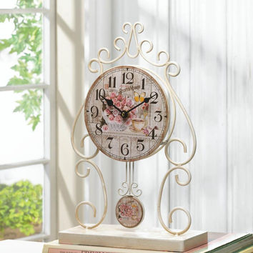Table Clock-Country Rose