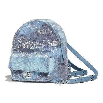 Sequins & Silver-Tone Metal Light Blue, Blue & Turquoise Backpack | CHANEL