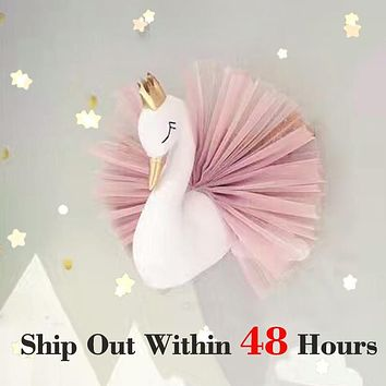 Swan Wall Hanging Nursery Decor Swan Stuffed Doll Toys for Girls Animal Head Unicorn Wall Mounted Baby Kids Room Christmas Gifts