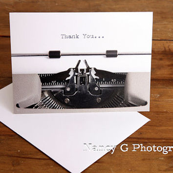 "Greeting Card, Thank you, Card, Note Card, Paper Goods, Antique, Typewriter, 5.5""x4"", Greeting Cards, Card Gift, Vintage"