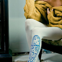 Babushka Doll Print Tights White & Blue - Fashion Tights - TrendyLegs